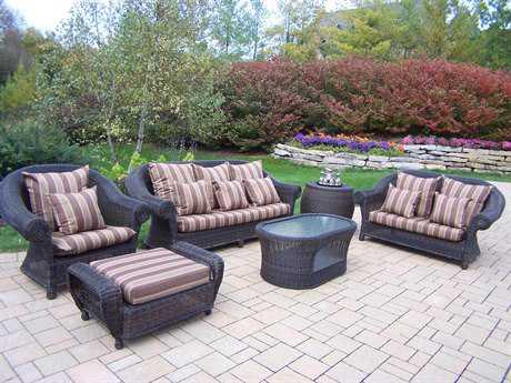 Oakland Living Elite Resin Wicker Cambridge 6 Pc. Relaxation Set