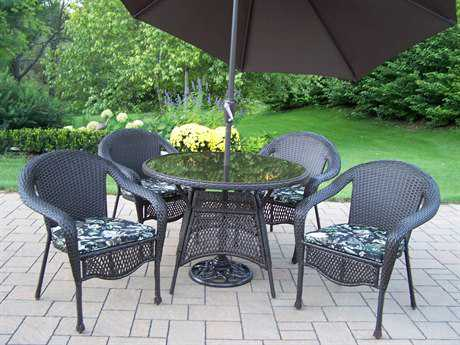 Oakland Living Elite Resin Wicker 7 Pc. Dining Set with Umbrella in Coffee