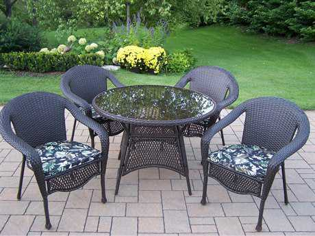 Oakland Living Elite Resin Wicker 5 Pc. Dining Set with Cushions in Coffeee