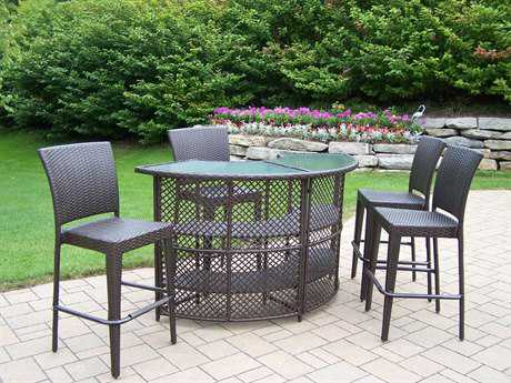 Oakland Living Elite Resin Wicker 5 Pc. Bar Set