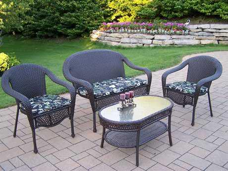 Oakland Living Elite Resin Wicker 4 Pc. Seating Set