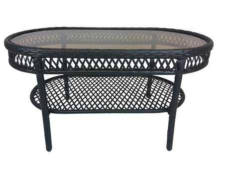 Oakland Living Oakland Elite Resin Wicker 37.5 x 20 Oval Glass Coffee Table