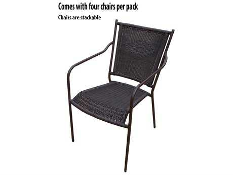 Oakland Living Stackable Wicker Chairs with Straight backs 4 Packs