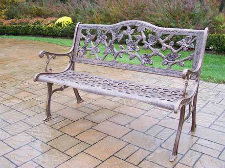 Oakland Living English Rose Cast Aluminum Bench in Antique Bronze
