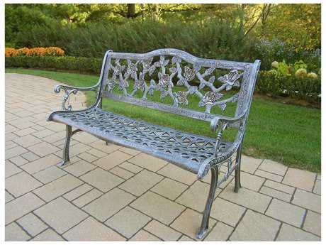 Oakland Living English Rose Cast Aluminum Bench in Antique Pewter