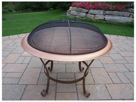 Oakland Living Round Fire Pit Cast Iron 30-inch with Grill and Spark Guard Screen Lid