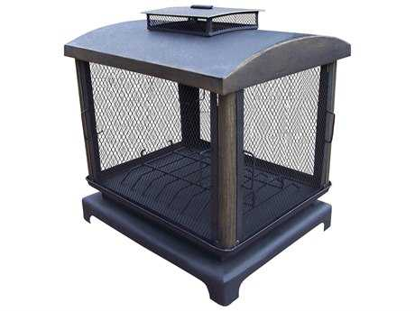 Oakland Living Outdoor Fire Place Pit Cast Iron with 360 Degree view PatioLiving