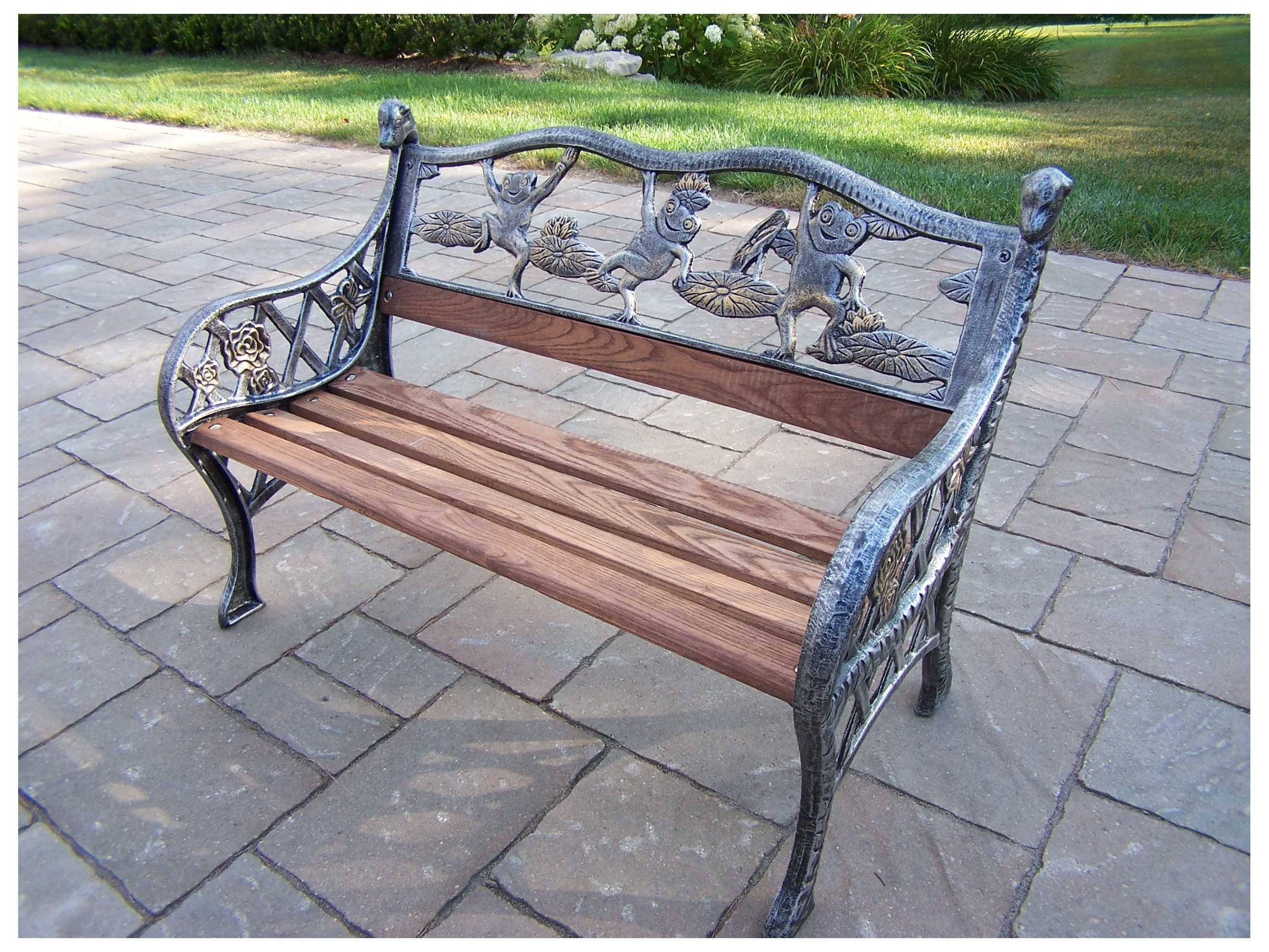 Oakland Living Frogs Garden Cast Iron Decorative Bench