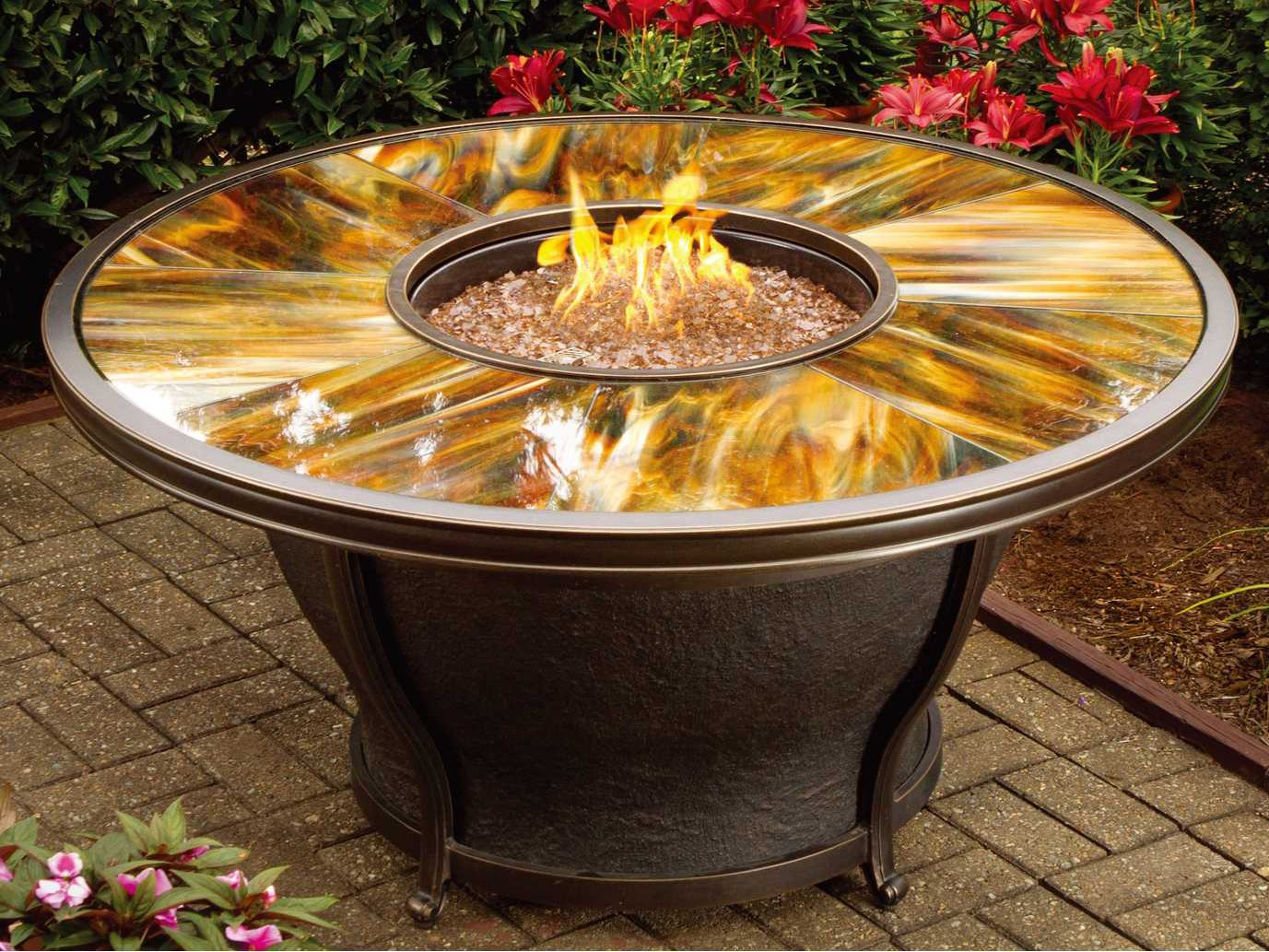 Oakland Living Moonlight Aluminum 48 Round Gas Firepit Table with Tempered Glass Top ...