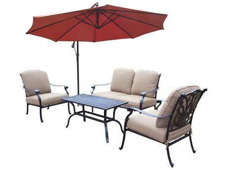 Oakland Living Hampton Aluminum 5 Pc. Deep Seating Chat Set with Umbrella