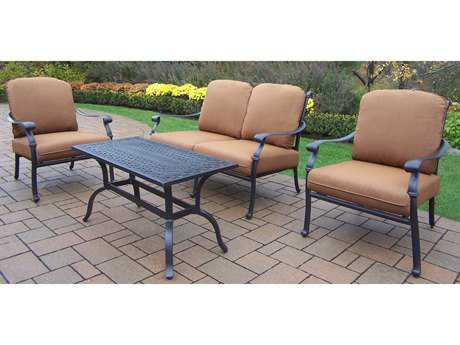 Oakland Living Hampton Aluminum 4 Pc. Deep Seating Chat Set with Cushions