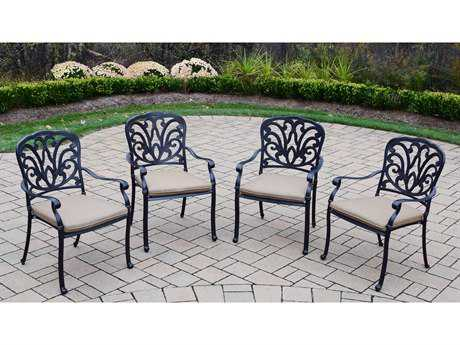 Oakland Living Hampton Aluminum Stackable Set of 4 Dining Arm Chairs with Cushion