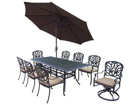 Oakland Living Hampton Aluminum 11 Pc. Dining set with Cushions and Umbrella