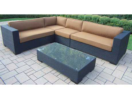 Oakland Living Hampton 5 Pc. Woven all-weather Resin Wicker Sectional set