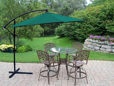 Oakland Living Hummingbird Mississippi Aluminum 6 Pc. Swivel Bar Set with Umbrella