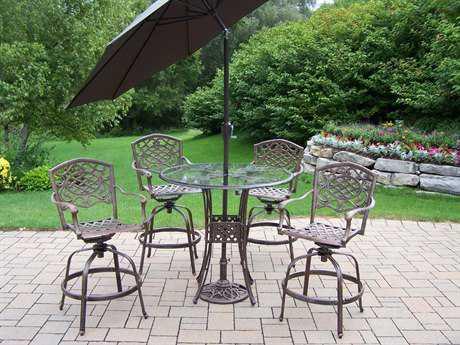 Oakland Living Hummingbird Mississippi Aluminum 7 Pc. Swivel Bar Set with Umbrella