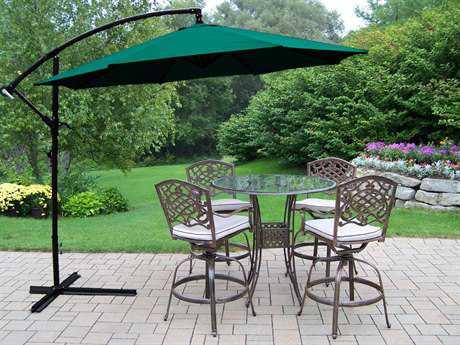 Oakland Living Hummingbird Mississippi Cast Aluminum 6 Pc. Swivel Bar Set with Umbrella
