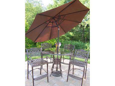 Oakland Living Hummingbird Mississippi Cast Aluminum 7 Pc. Bar Set with Umbrella