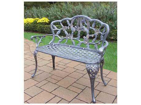 Oakland Living Hummingbird Cast Aluminum Loveseat Bench in Antique Pewter