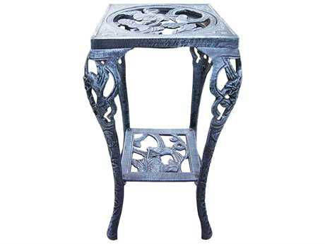 Oakland Living Hummingbird Cast Iron Table Plant Stand in Verdi Grey