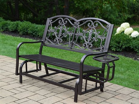 Oakland Living Lakeville Cast Aluminum Double Glider with Side Tray PatioLiving