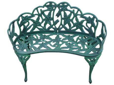 Oakland Living Lily Cast Aluminum Garden Décor Bench in Verdi Green