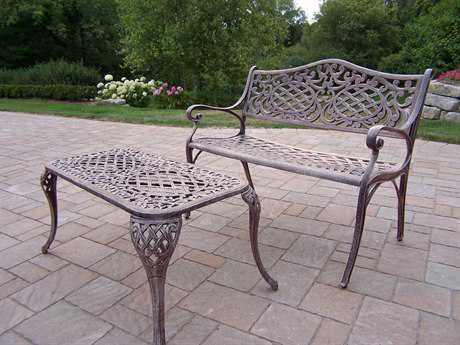Oakland Living Mississippi Cast Aluminum Settee Bench Set