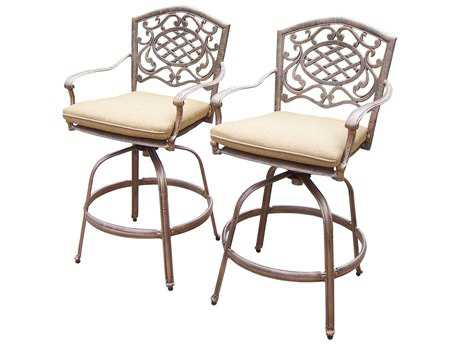 Oakland Living Mississippi Cast Aluminum Set of 2 Swivel Bar Stools with Cushion