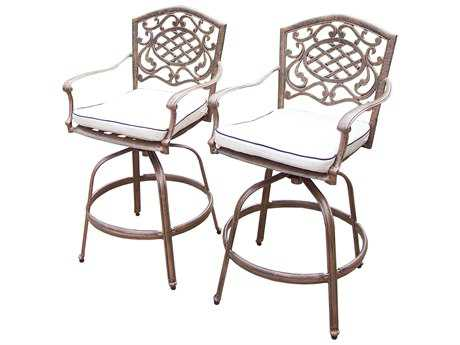 Oakland Living Mississippi Cast Aluminum Swivel Bar Stool with Cushions Pack of 2