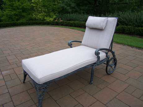Oakland Living ississippi Cast Aluminum Chaise Lounge on Wheels with double Cushion