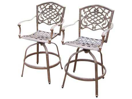 Oakland Living Mississippi Cast Aluminum Swivel Bar Stools Set of 2 PatioLiving