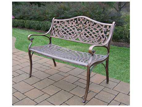 Oakland Living Mississippi Cast Aluminum Settee Bench PatioLiving