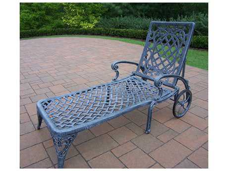 Oakland Living Mississippi Cast Aluminum Chaise Lounge with 2 wheels