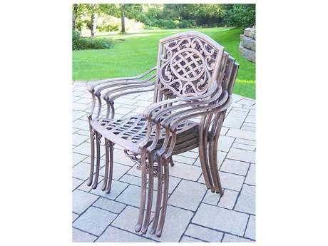Oakland Living Mississippi Cast Aluminum 4 fully welded Stackable Chairs