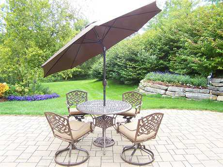 Oakland Living Mississippi Cast Aluminum 7-Piece Dining Set with Cushions and Umbrella