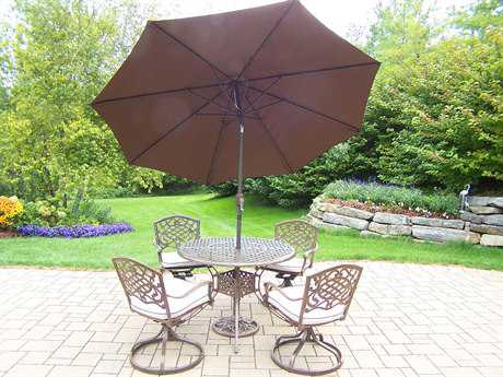Oakland Living Elite Mississippi Aluminum 7 Pc. Dining set with Cushions and Umbrella