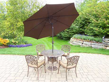 Oakland Living Elite Mississippi Cast Aluminum Pc. Dining Set with Cushions and Umbrella