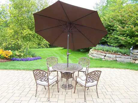 Oakland Living Elite Mississippi Cast Aluminum 7 Pc. Dining Set with Cushions and Umbrella