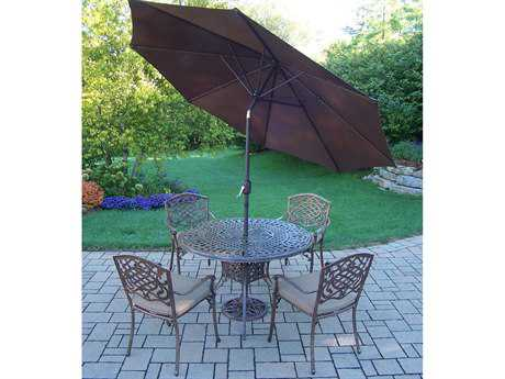 Oakland Living Capitol Mississippi Cast Aluminum 7 Pc. Dining Set with Cushions and Umbrella