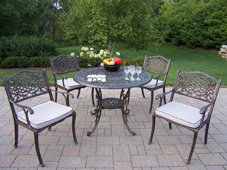 Oakland Living Mississippi Cast Aluminum 5 Pc. Dining Set PatioLiving
