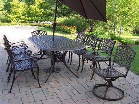 Oakland Living Mississippi Cast Aluminum 9 pc Dining Set with Swivels