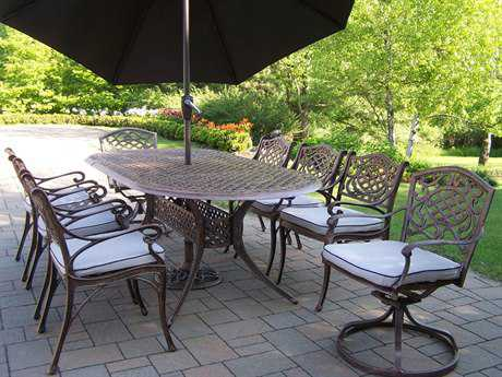 Oakland Living Mississippi Cast Aluminum Cushion 9 pc Dining Set with Swivels