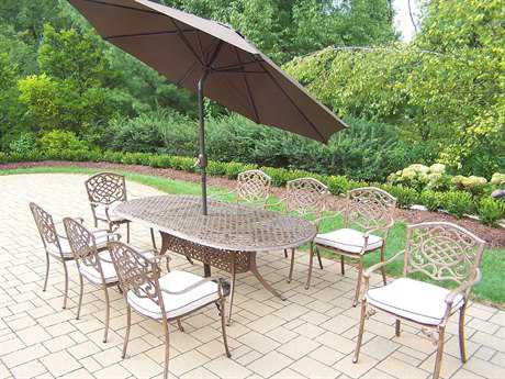 Oakland Living Mississippi Cast Aluminum 11 Pc Dining Set with Cushions and Umbrella