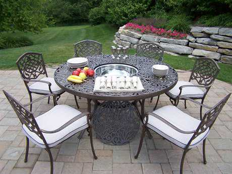 Oakland Living Mississippi Cast Aluminum Cushion 7 pc Dining Set with Ice Bucket