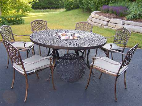 Oakland Living Mississippi Cast Aluminum 8 Pc. Dining Set with Ice Bucket
