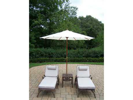 Oakland Living Mississippi Cast Aluminum 5 Pc. Lounge Set with Cushions and Umbrella
