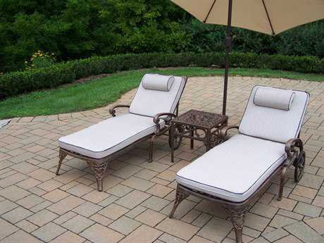 Oakland Living Mississippi Cast Aluminum Pool Cushion Lounge Set