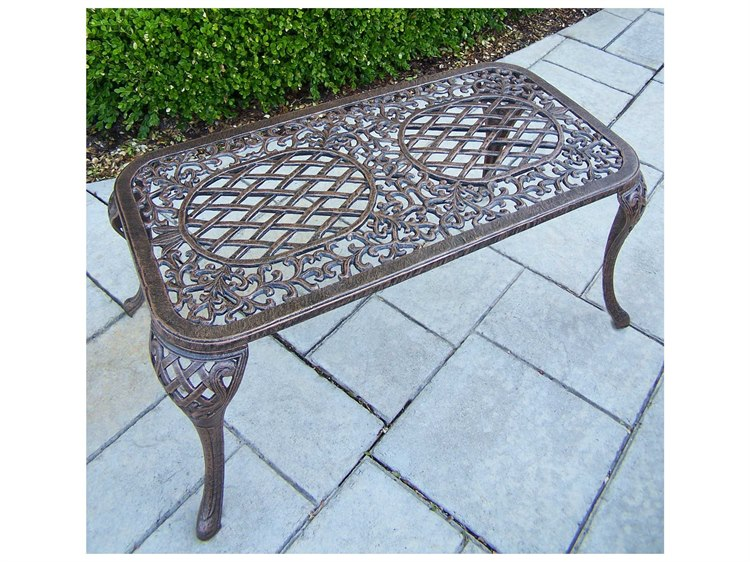 Oakland Living Mississippi Cast Aluminum 35 x 18 Rectangular Coffee Cocktail Table