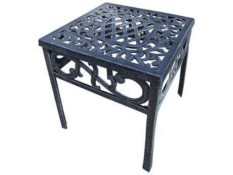Oakland Living Mississippi Cast Aluminum 17.5 Square Metal End Table 17.5W x 17.5D x 19H PatioLiving