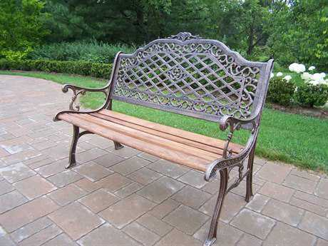 Oakland Living Mississippi Cast Aluminum High Back Bench PatioLiving